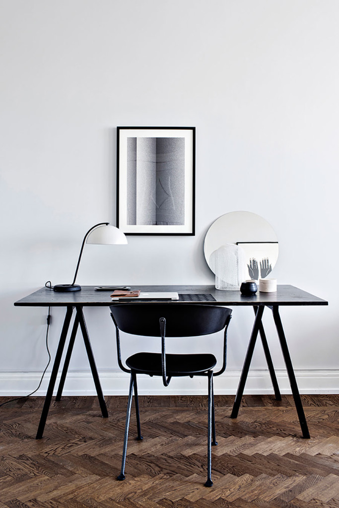 skrivbordlampa, cloche lampa, skrivbord, grafiskt kontor, hemmakontor