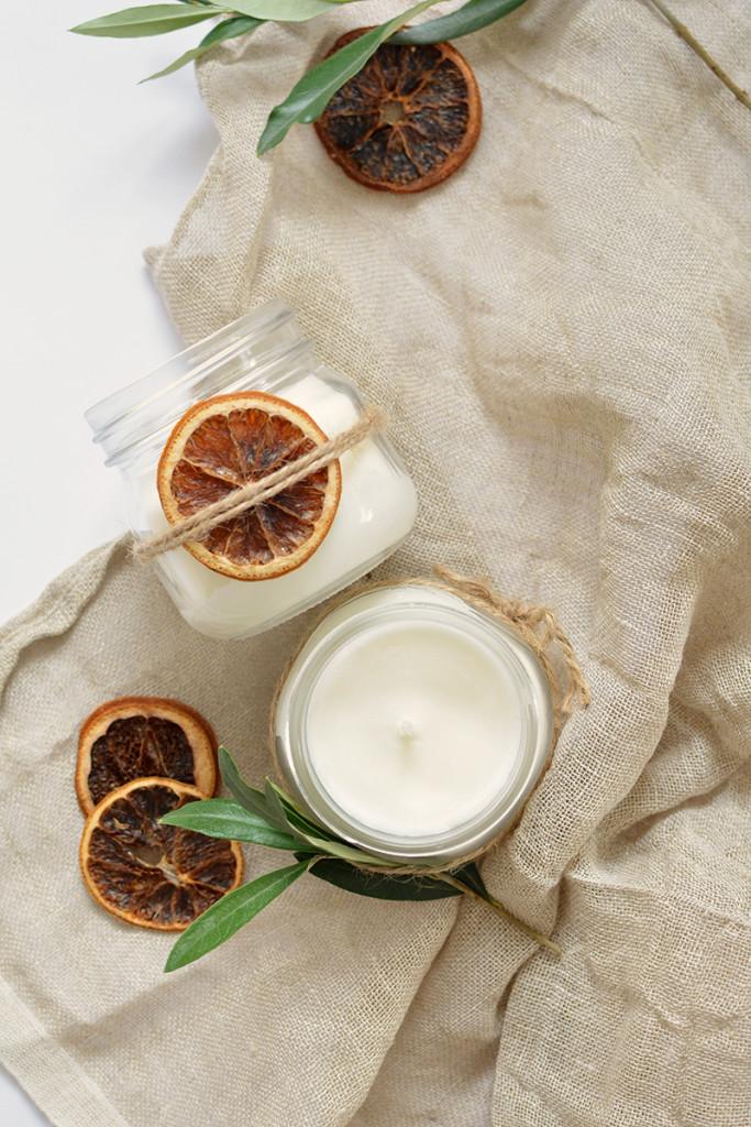 diy julljus med doft av apelsin och kanel