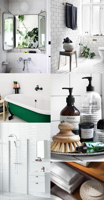 Bathroom, badrumsinspo, badrum, vitt kakel, grönt badkar