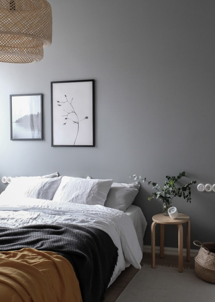 Bedroom-with-grey-wall-monochrome-with-a-pop-of-mustard-yellow.-Styling-and-photography-Anu-Tammiste