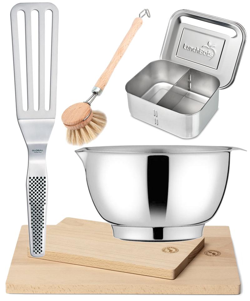 Hållbar inredning - plastbantu köket, plastbanta, bra val i köket, diskborste iris hantverk, stekspade global, margrete skål, matlåda i rostfritt